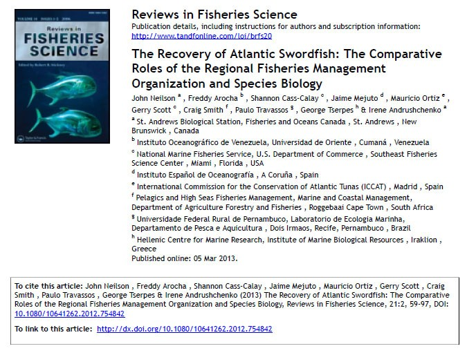 Fisheries and Oceans Canada Outstanding Scientific Paper of the Year Award
